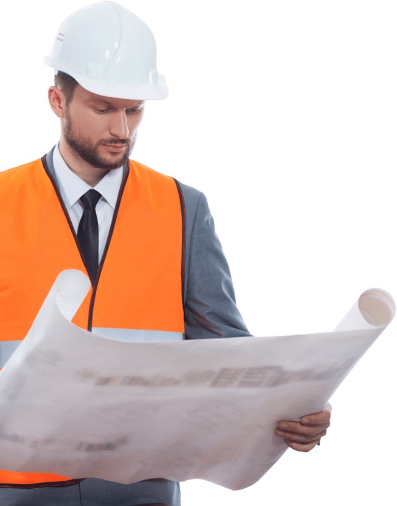 Professional Male Construction Man Reading Plans